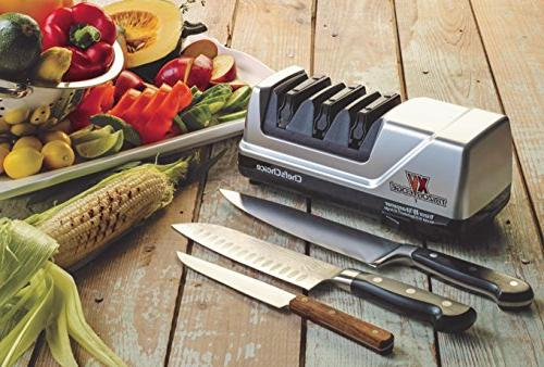 Chef'sChoice Trizor EdgeSelect Sharpener Serrated Knives Patented Sharpening System in Gray